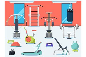 Illustration of gym interior with different sport equipment