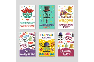 Banners or cards set with illustrations of funny tools for masquerade. Design template with place for your text