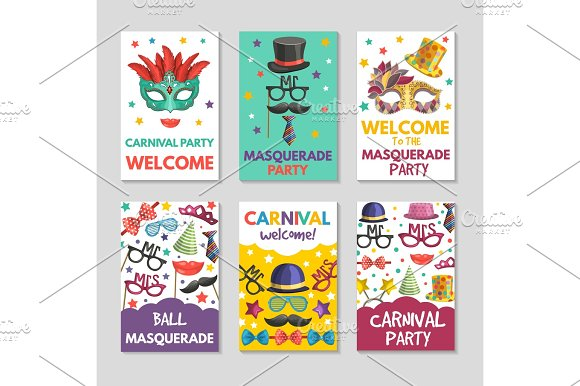 banners or cards set with illustrations of funny tools for