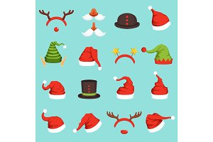 Hats of different christmas characters. Cap of santa, elf and snowman. Vector illustrations in cartoon style