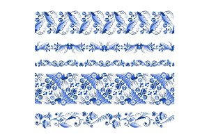 Russian traditional elements. Set of horizontal seamless pattern in gzhel style