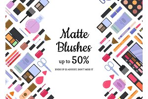 Vector flat style different makeup and skincare sale background