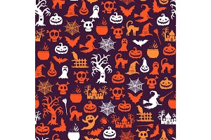 Vector halloween pattern background with witches, pumpkins, ghosts, spiders silhouettes