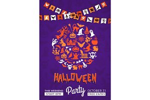 Vector halloween party invitation poster template with circle of witches, pumpkins, ghosts, spiders silhouettes, garlands and place for text