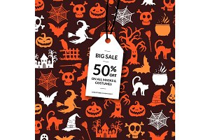 Vector halloween background with white sale tag hanging from the top and place for text