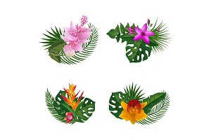 Vector tropical palm leaves and exotic flower elements bouquets isolated on white background
