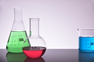 Chemical tools gray background