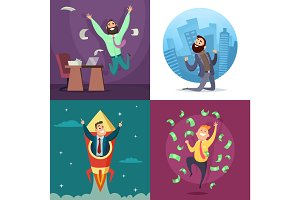 Successful funny and happy businessmen in active poses. Business concept illustrations set