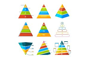 Set of different triangles and pyramids with levels. Vector symbols for infographic