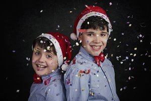 smiling children at christmas
