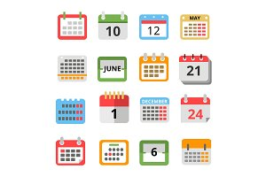 Set of different calendars in flat style. Vector pictures set