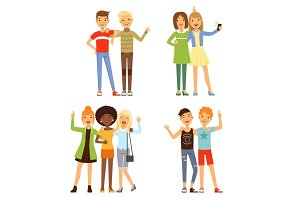 Illustrations of friendship. Different male and female friends. Friendly groups