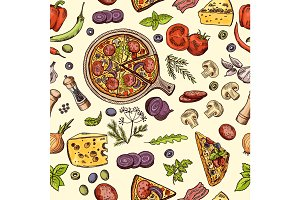 Classical italian food. Pizza and slices with different ingredients. Vector seamless pattern