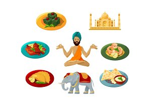 Different objects of traditional indian culture. Vector illustrations set