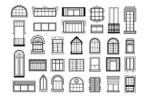 Vector illustrations set with different silhouettes of window frames