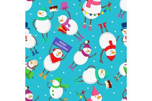 Christmas seamless pattern with funny characters of snowman