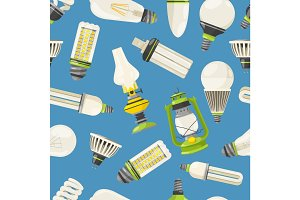 Lamps and different bulbs in cartoon style. Vector seamless pattern