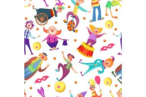 Background for greeting cards. Seamless pattern with funny clowns in cartoon style