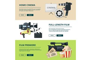 Horizontal banners set with cinema compositions. Video entertainment pictures