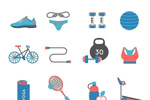 Fitness Gym Icons Set