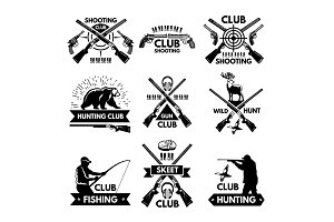 Labels and badges set for hunting club. Monochrome pictures of different animals and weapons for hunters