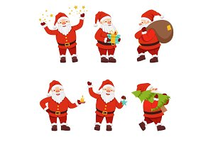 Christmas characters collection of cute santa in different action poses