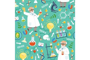 Different chemical or biological tools. Professor of medicine. Vector seamless pattern