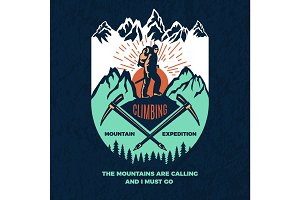 Exploring. Vintage poster of mountain climbing. Travel label