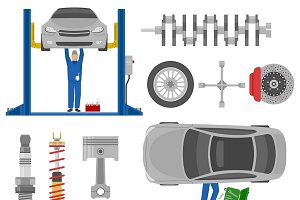 Car Service Decorative Elements Set