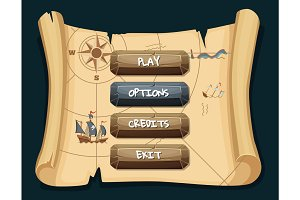 Vector cartoon style stone enabled and disabled buttons with text for game design on treasure map scroll background