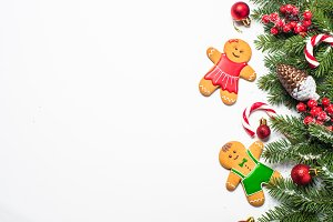 Christmas gingerbread and christmas decorations