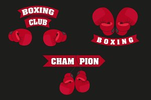 set of emblems boxing