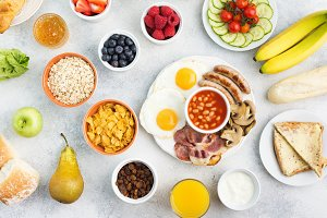 Full English breakfast, eggs, bacon