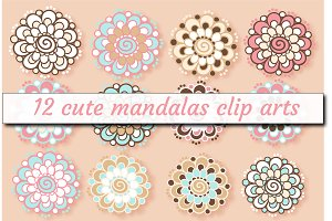 12 png mandala flowers cliparts
