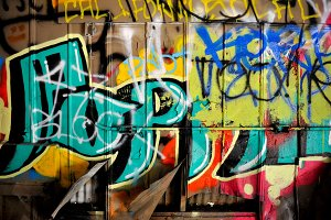 Brightly colored graffiti