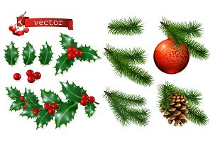 Christmas decorations. Vector set