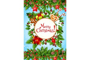 Christmas wreath or New Year garland greeting card