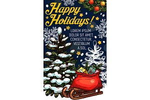 Merry Christmas vector sketch gift greeting card