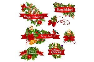 Christmas or New Year garland ribbon banner design