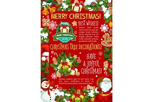 Merry Christmas decoration vector greeting card