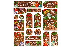 Christmas sale tag and New Year discount label