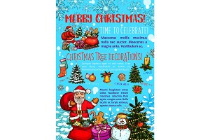 Christmas greeting card with Happy holidays wishes
