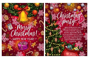 Christmas lights garland vector sketch greeting