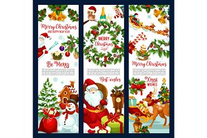 Merry Christmas wish Santa vector greeting banners