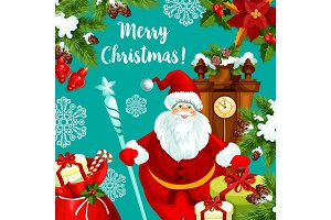 Santa greeting card for Christmas and New Year