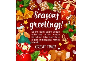 Christmas winter holiday season vector greetings