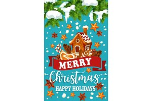 Christmas holiday ginger cookie greeting poster