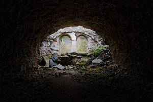 Ruins of abandoned fortifications