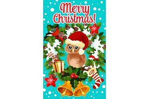 Merry Christmas holidays owl vector greeting card