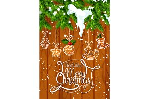 Christmas holiday cookie garland greeting banner